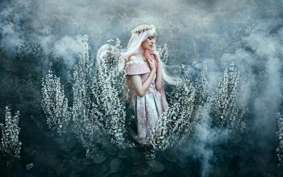 Papéis de Parede Menina de cabelos brancos, saia, flores, coroa