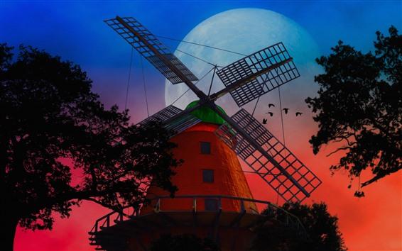 Wallpaper Windmill, moon, night, trees, birds, art style