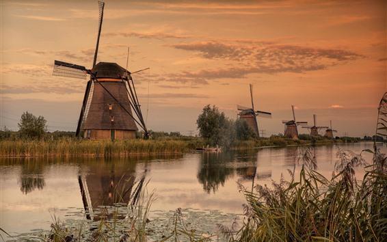 Wallpaper Windmills, river, village