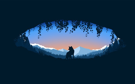 Wallpaper Wolf, hole, mountains, silhouette, art picture