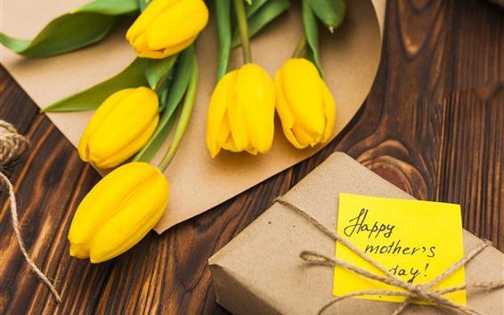 壁紙 黄色のチューリップ、ギフト、幸せな母の日