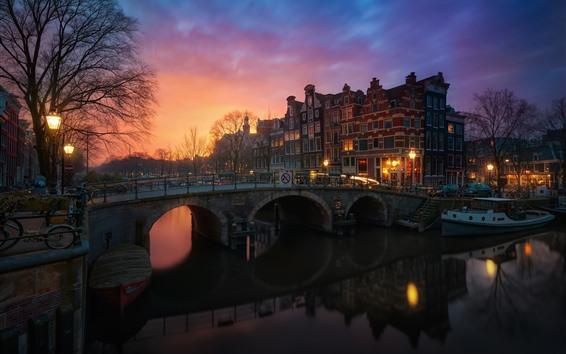 Fond d'écran Amsterdam, Pays-Bas, maisons, arbres, rivière, pont, lumières, nuit