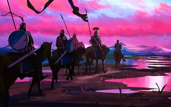 Обои Художественная картина, рыцари, лошади, закат, горы, река