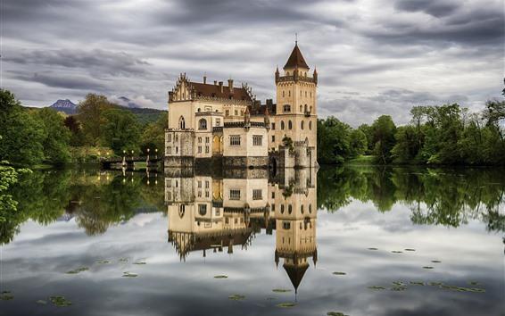Papéis de Parede Áustria, Salzburgo, castelo, lago, árvores, reflexão da água
