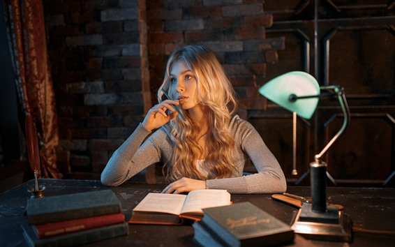 Wallpaper Blonde girl, books, lamp