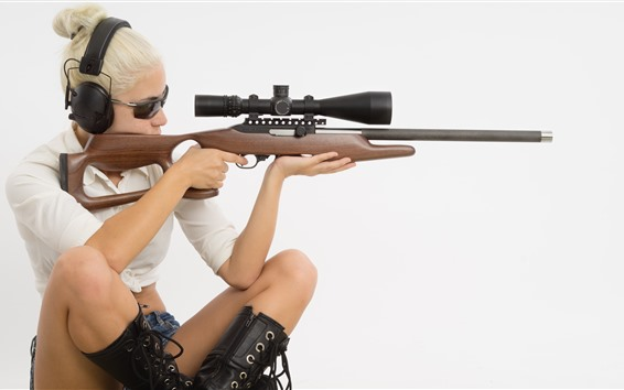Wallpaper Blonde girl, sniper, rifle