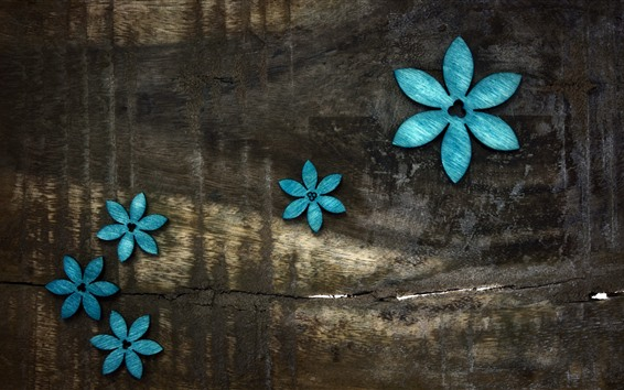 Wallpaper Blue flowers, wood board background