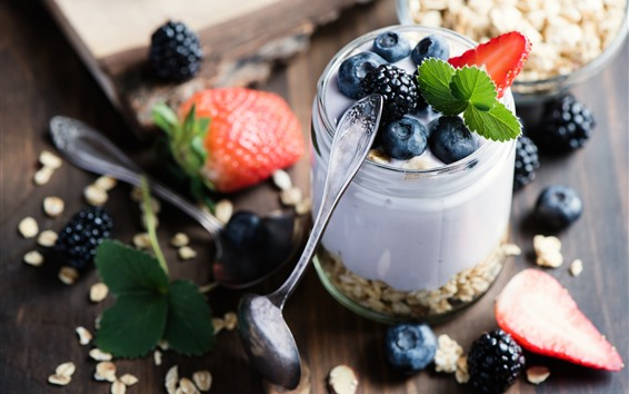 Wallpaper Breakfast, yogurt, oatmeal, blueberries