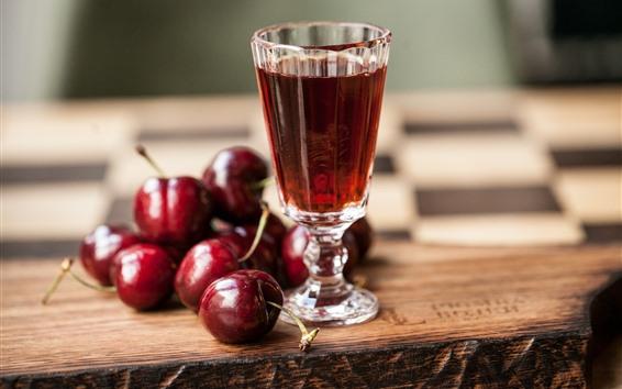 Wallpaper Cherries, glass cup, wine
