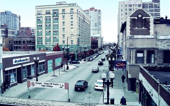 壁紙 シカゴ、都市、道路、建物、アメリカ