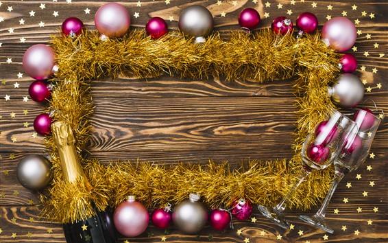 Papéis de Parede Bolas de Natal, champanhe, estrelas, decoração