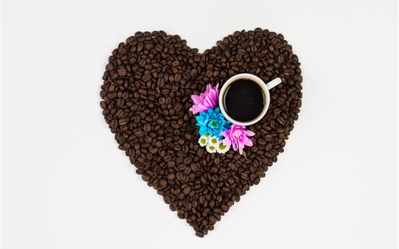 Wallpaper Coffee beans, love heart, cup, pink and blue flowers