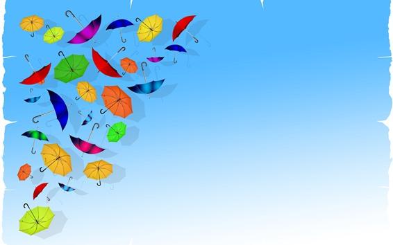 Fond d'écran Parapluies colorés, fond bleu, image créative
