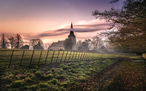 Wallpaper Countryside, houses, trees, fog, morning