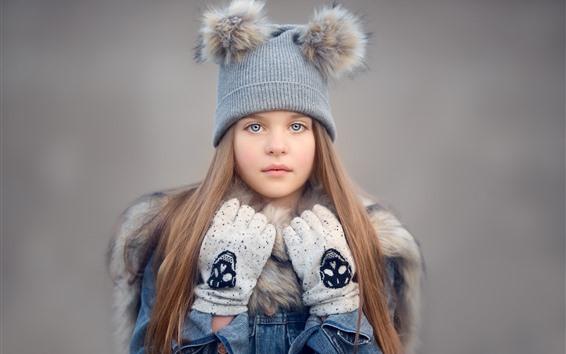Fond d'écran Jolie petite fille, chapeau, cheveux longs, gants
