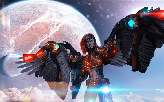 Wallpaper Cyborg, angel, wings, planet, creative picture