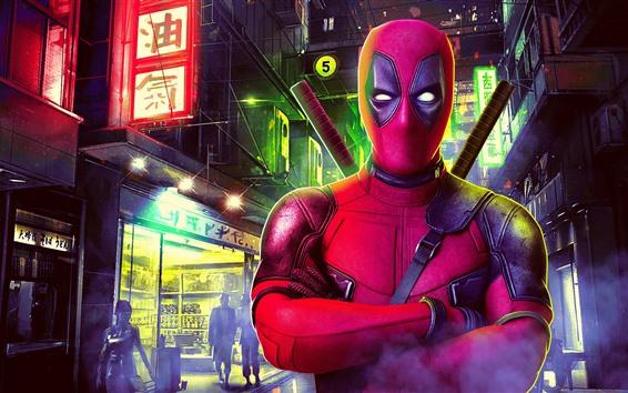 Papéis de Parede Deadpool, noite da cidade, Japão