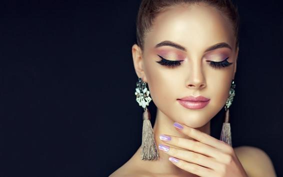 Wallpaper Fashion girl, close eyes, earring, black background