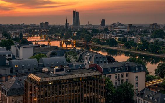 Wallpaper Germany, Frankfurt, city, river, bridge, morning