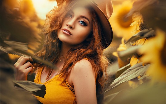 Wallpaper Girl, sunflowers, summer, hazy