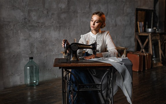 Wallpaper Girl use sewing machine, retro style