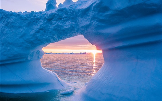 Fondos de pantalla Glaciar, hielo, mar, puesta de sol
