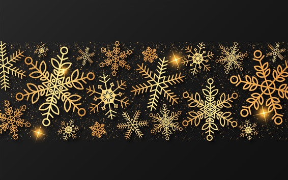 Wallpaper Golden snowflakes, creative picture