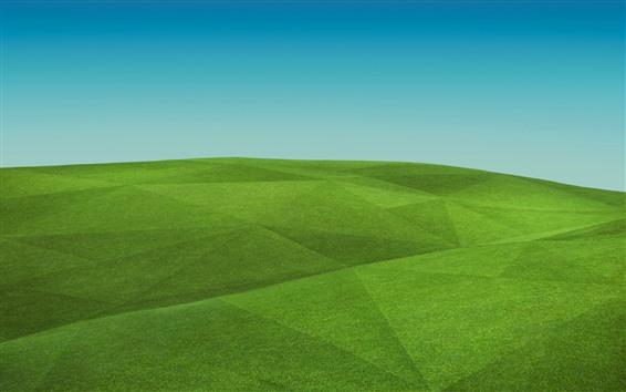 Обои Зеленые холмы, поле, креативная картинка