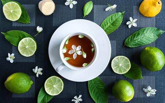 Wallpaper Green lemon, tea, cup, white jasmine flower