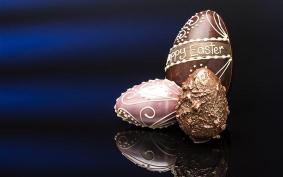 Fond d'écran Joyeuses Pâques, oeufs en chocolat