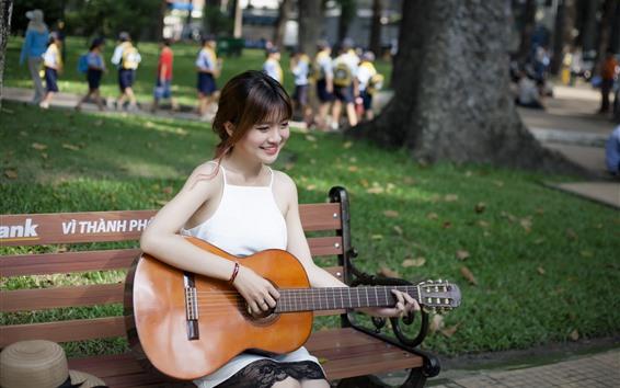 Wallpaper Happy girl play guitar, bench, park