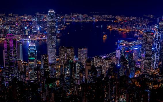 Wallpaper Hong Kong, city night, skyscrapers, lights, sea