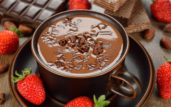 Wallpaper Hot chocolate, strawberries, dessert