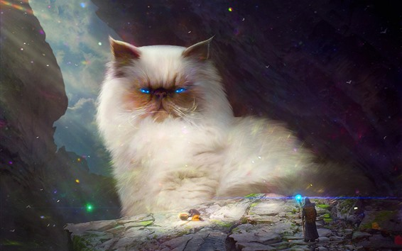 Wallpaper Huge white cat, blue eyes, art picture