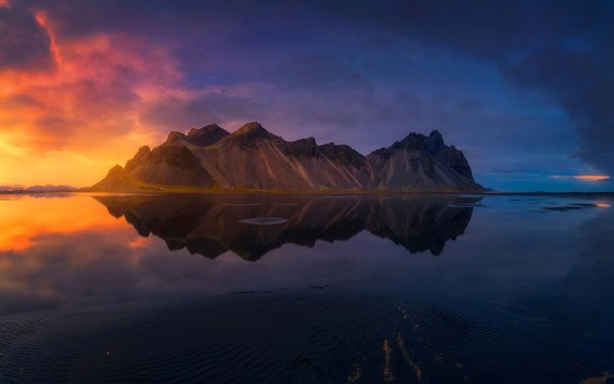 Wallpaper Iceland, island, sea, water reflection, clouds, sunset