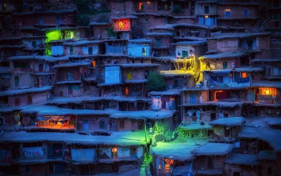 Wallpaper Iran, slums, houses, village, lights, night
