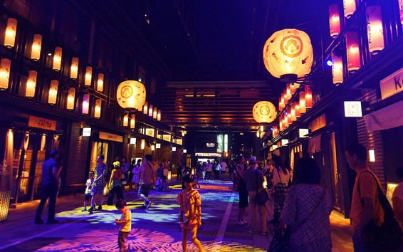 Wallpaper Japan, street, people, night
