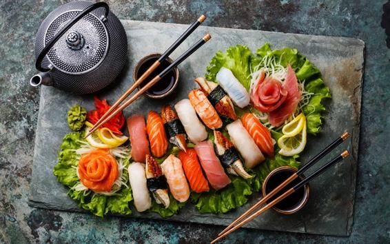 Wallpaper Japanese food, sushi, food, tea