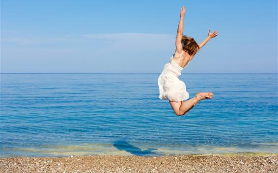Wallpaper Jumping girl, sea, beach, summer