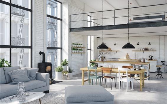 Fondos de pantalla Cocina, comedor, sillas, mesa, sofá, interior.