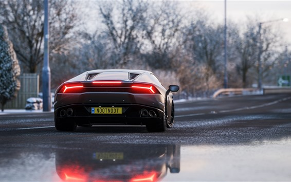 Обои Lamborghini суперкар вид сзади, задние фонари
