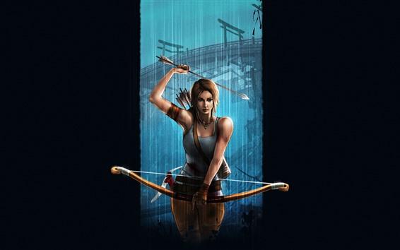 Hintergrundbilder Lara Croft, Tomb Raider, Bogen, schwarzer Hintergrund