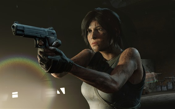 Wallpaper Lara Croft, gun, Tomb Raider