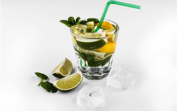 Wallpaper Lemonade, cocktail, ice cubes, white background