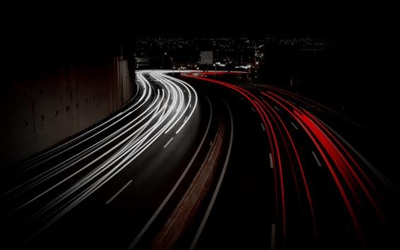 Wallpaper Light lines, road, city, night