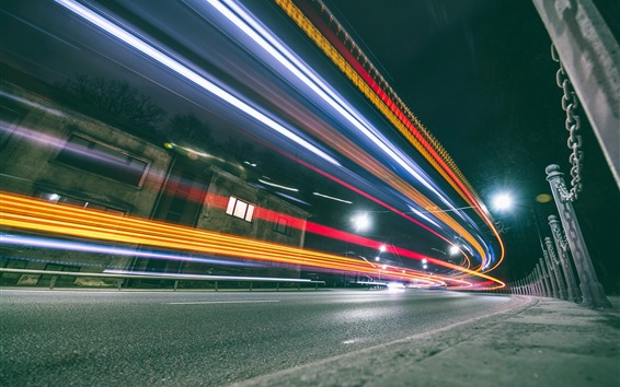 Wallpaper Lithuania, Kaunas, colorful light lines, speed, city, road, night