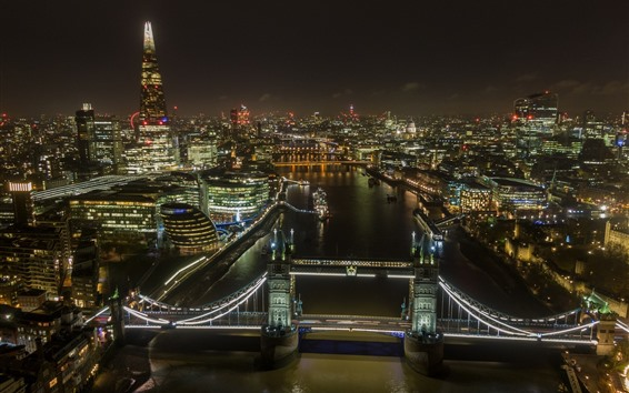 Обои Лондон, Тауэрский мост, огни, река, город, Англия
