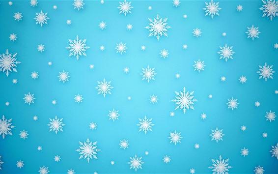 Wallpaper Many white snowflakes, blue background