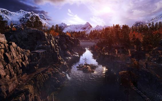 Wallpaper Metro: Exodus, trees, mountains, river, autumn