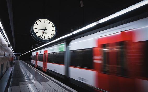 Fond d'écran Métro, horloge, vitesse, gare